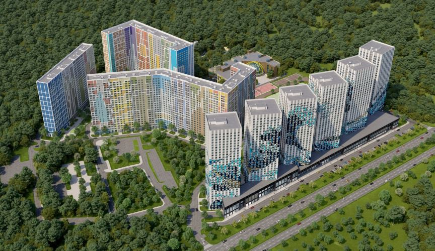 Aerial shot of colorful development