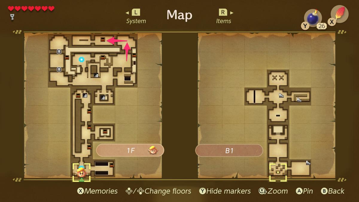 Link's Awakening Key Cavern path to the Compass