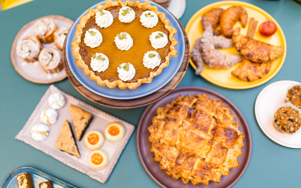 Pumpkin pie with panela sugar and apple pie with cajeta (goat's milk caramel) from Mercy Me