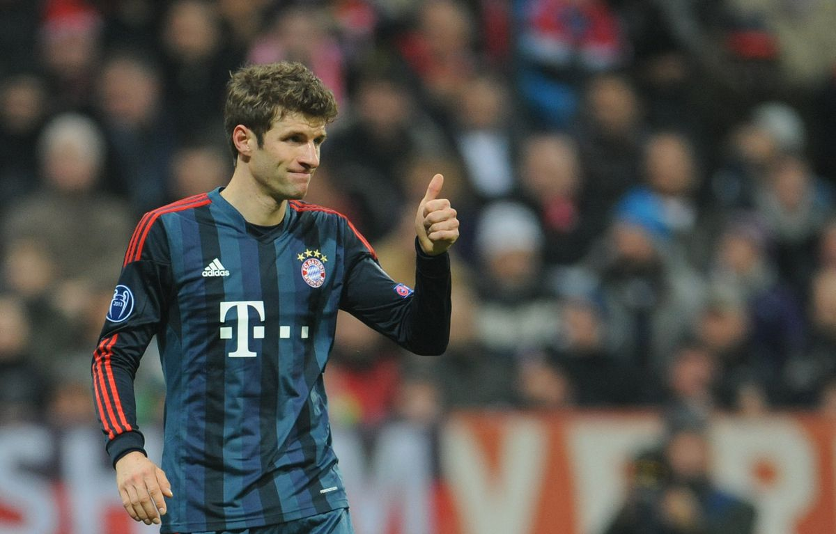 FC Bayern Munich vs Manchester City Munich's Thomas Mueller during the Champions League match between FC Bayern Munich and Manchester City at Allianz Arena in Munich, Germany, 10 December 2013. The match ended 2-3 for Manchester City. Photo: Andreas Gebert | usage worldwide