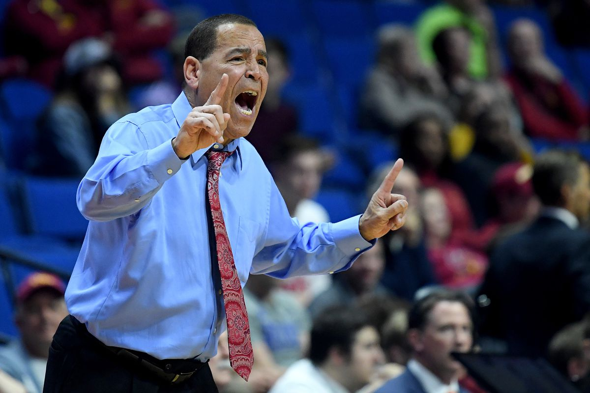 Houston Cougars head coach Kelvin Sampson of the Houston Cougars shouts against the Georgia State Panthers during the first half in the first round game of the 2019 NCAA Men's Basketball Tournament at BOK Center on March 22, 2019 in Tulsa, Oklahoma.