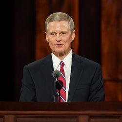 Elder David A. Bednar,a member of the Quorum of the Twelve Apostles, speaksduring the Saturday morning session of the 190th Semiannual General Conference of The Church of Jesus Christ of Latter-day Saints on Oct. 3, 2020.