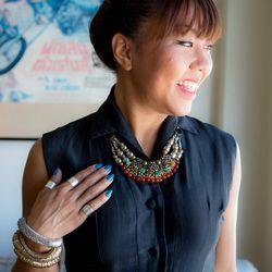 Necklace from Anthropologie, lucite bangles by BCBG, vintage black dress