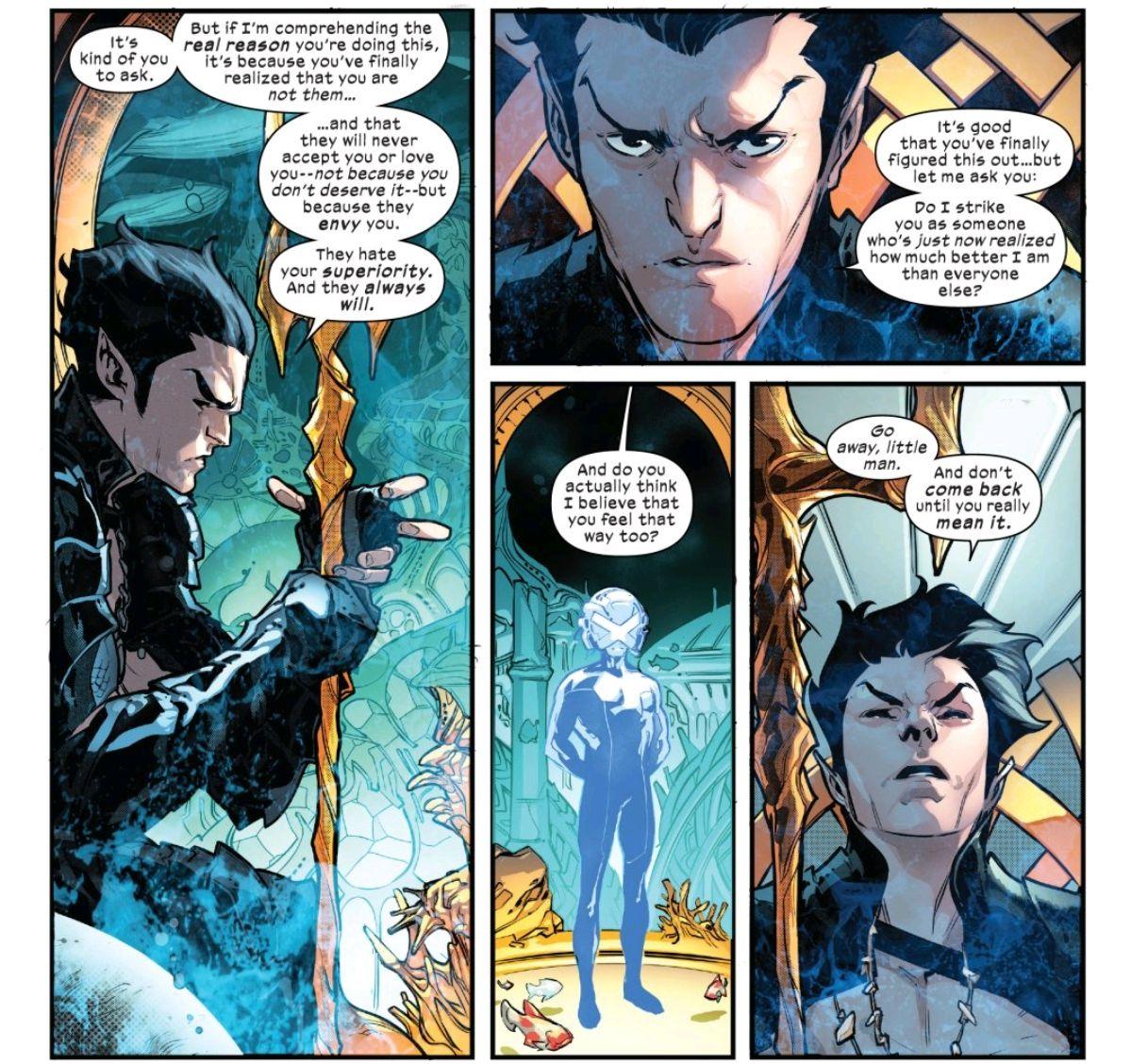 Namor the Sub-Mariner, king of Atlantis, rejects Professor X's invitation to Krakoa, in Powers of X #5, Marvel Comics (2019).