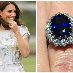 Originally the engagement ring of Prince William's mother, Princess Diana, this 18-carat oval sapphire design with diamond trim was passed down to his fiancée Kate Middleton in November 2010.