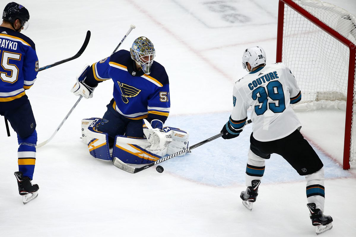 Jordan Binnington #50 of the St. Louis Blues makes a save against Logan Couture #39 of the San Jose Sharks during the second period in Game Six of the Western Conference Finals during the 2019 NHL Stanley Cup Playoffs at Enterprise Center on May 21, 2019 in St Louis, Missouri.