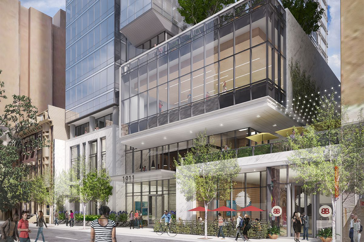 The developers of 1911 Walnut St. say the third floor retail space has potential for a high-end national retail gym. Renderings by Solomon Cordwell Buenz Architecture