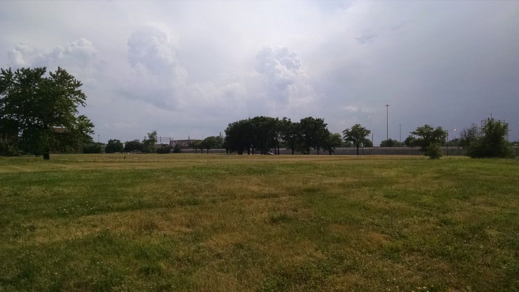This open field shows how much of the old Robert Taylor Homes site now looks — undeveloped.