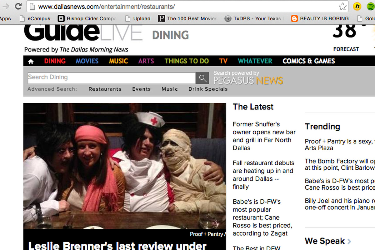 Maybe Leslie Brenner won't dress up like a mummy for a review meal this year.