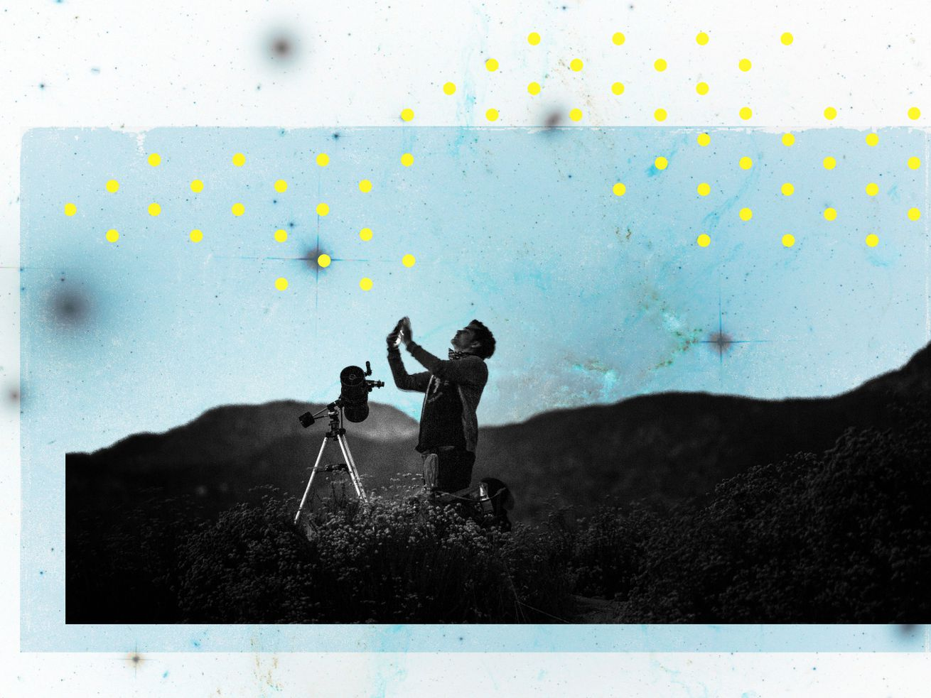 Photoillustration of a person kneeling on a hillside and using a telescope on a tripod.