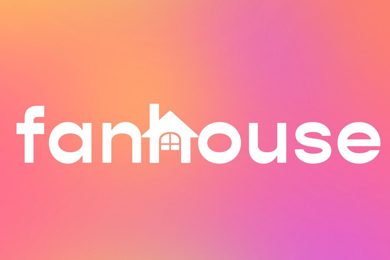 """The name """"Fanhouse"""" on a tie-dye background. The H is shaped like a house."""