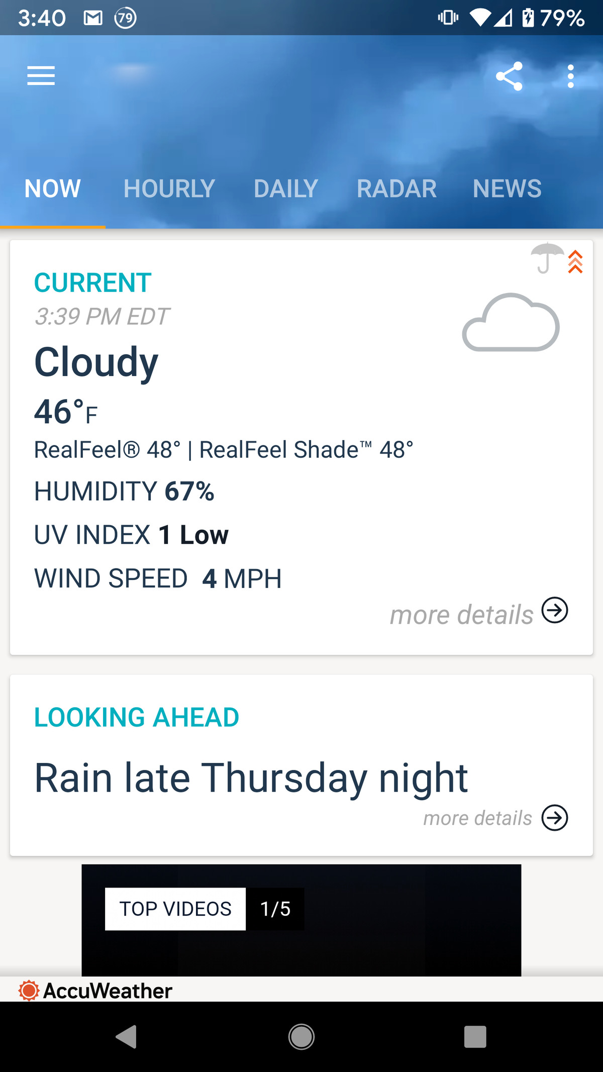 AccuWeather's app has an easily understood interface.