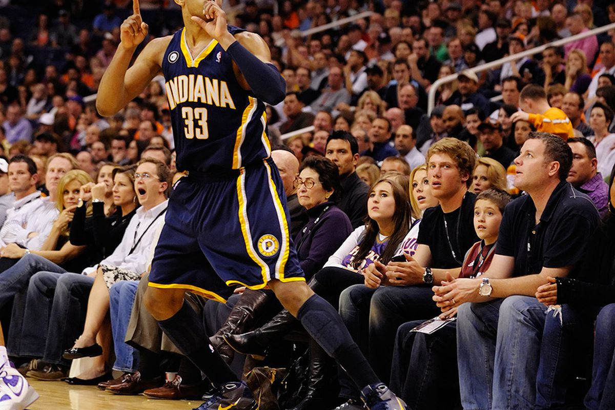 Danny Granger tried to quiet the crowd after a fourth quarter make. (Photo: Max Simbron)