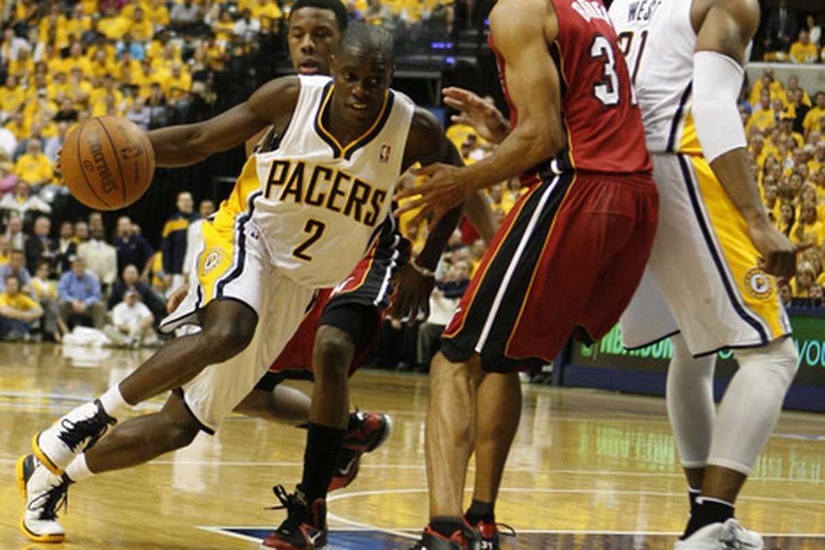 May 17, 2012; Indianapolis, IN, USA; Indiana Pacers guard Darren Collison (2) drives to the basket against  Miami Heat  forward Shane Battier (31) at Bankers Life Fieldhouse. Indiana defeats Miami 94-75. Mandatory Credit: Brian Spurlock-US PRESSWIRE