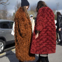 Brown and red coats for some much needed color at PFW.