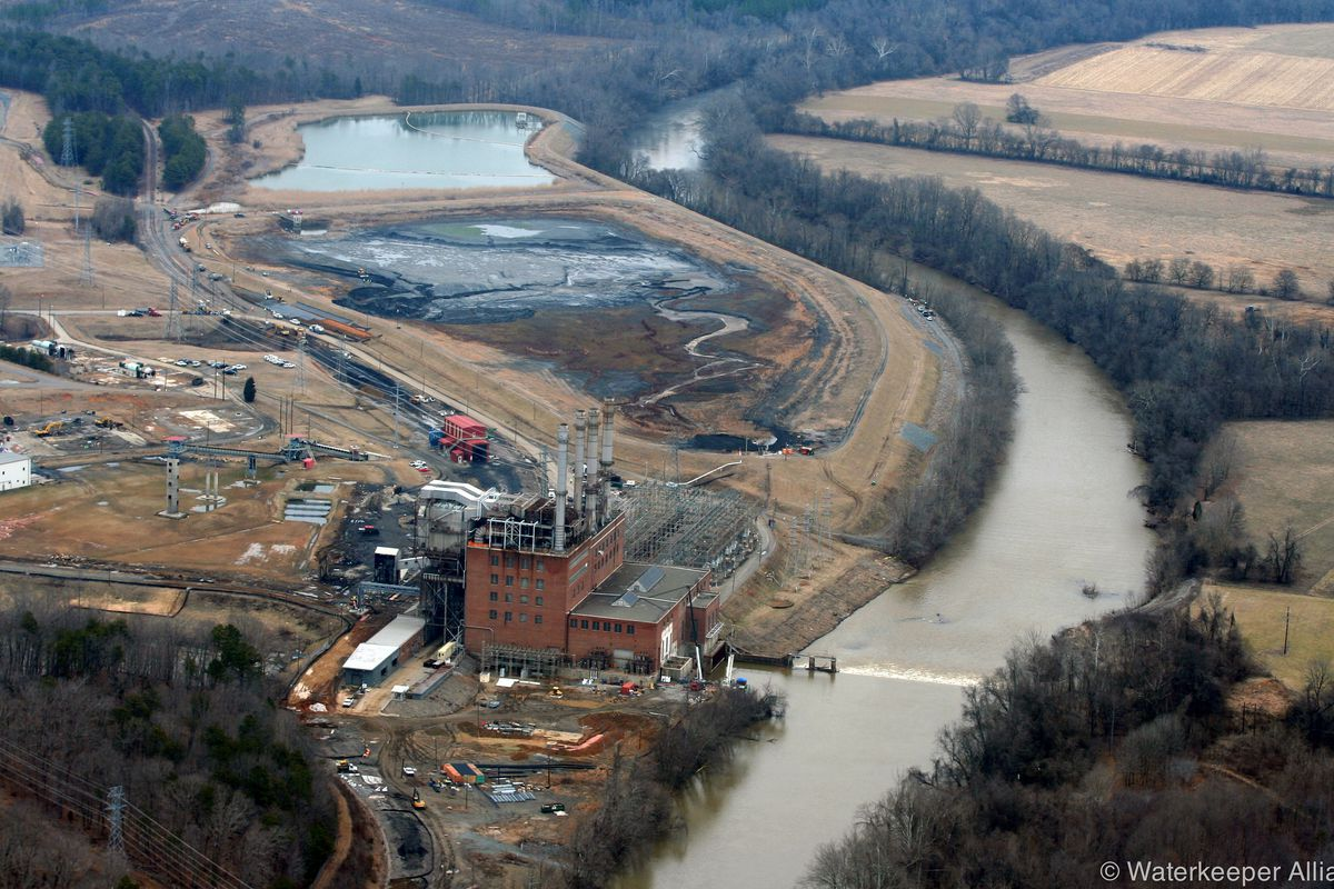 Duke Energy's retired Dan River coal plant. In February 2014, a storm water pipe under an ash basin failed and released 39,000 tons of coal ash into the river.