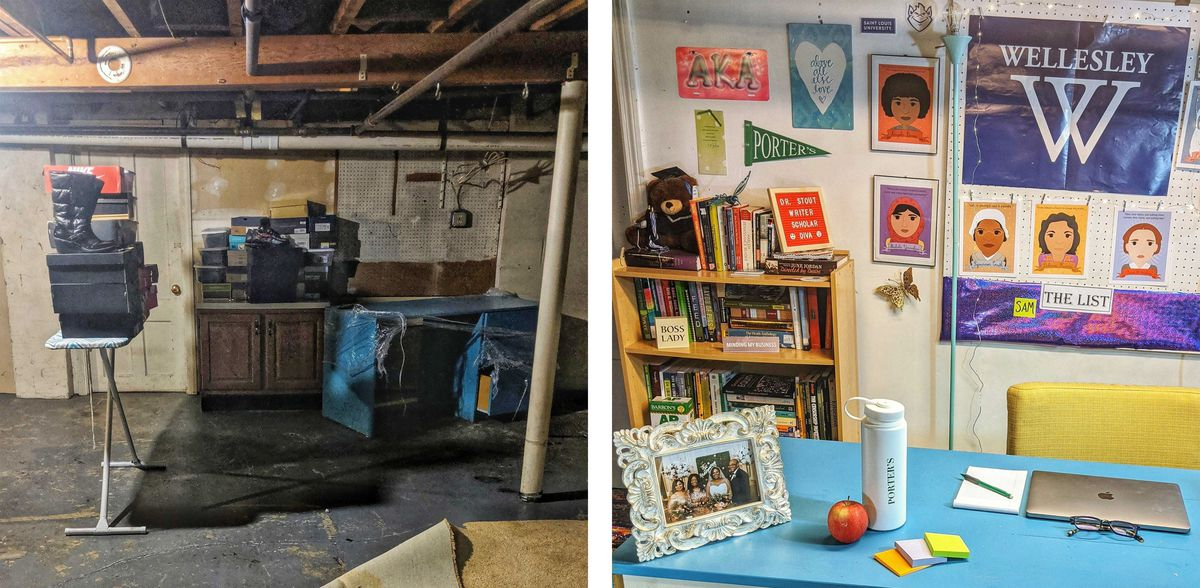 Cathryn Stout's basement before and after she transformed the space into her teaching studio.