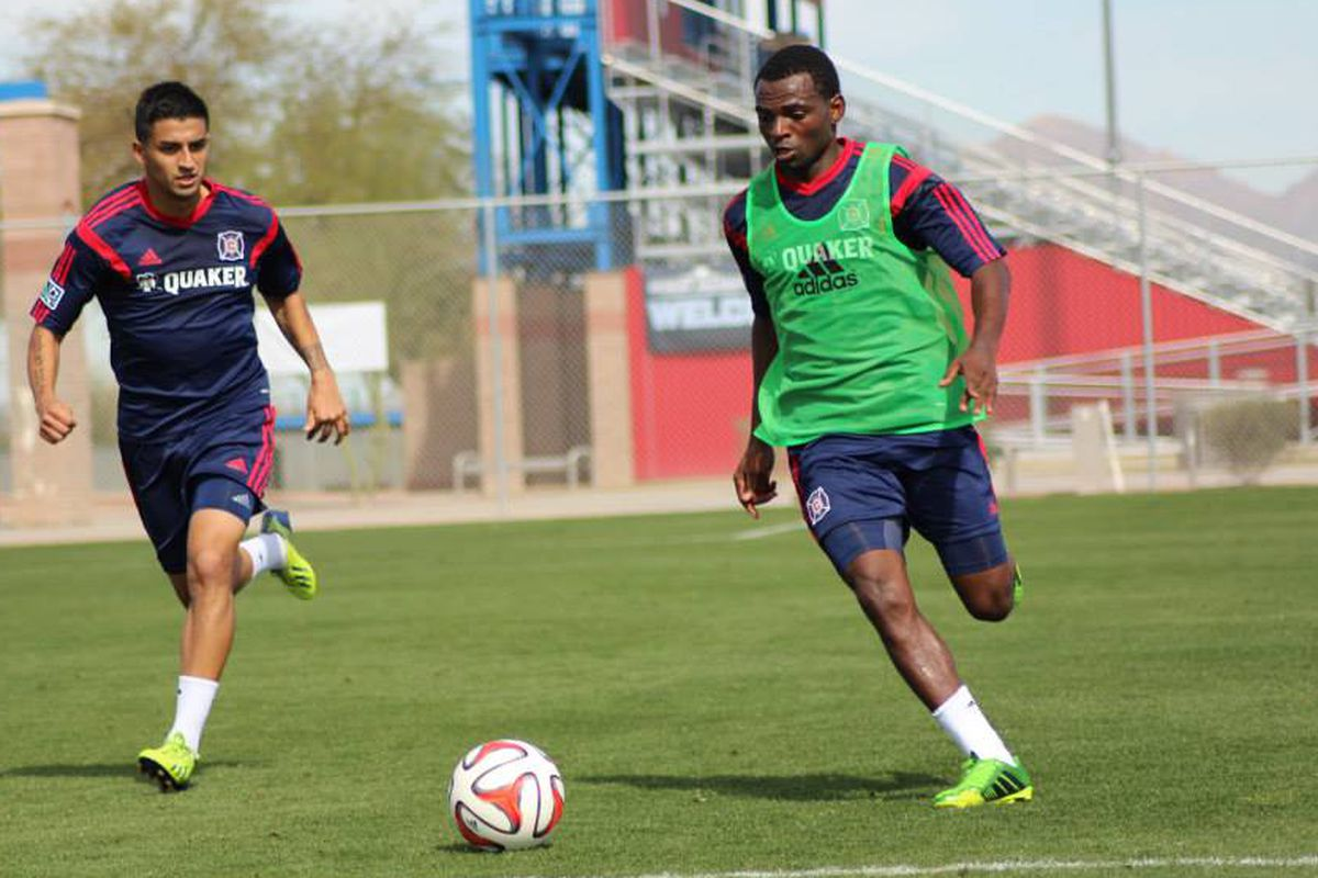 Today's friendly should feature minutes for hopefuls like Marco Franco (L) and Yazid Atouba.