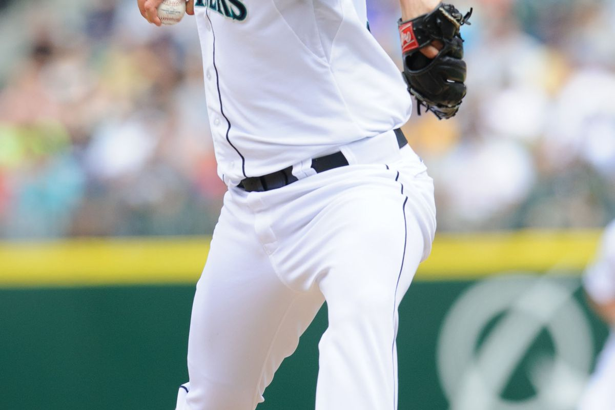Jul 15, 2012; Seattle, WA, USA; Seattle Mariners relief pitcher Steve Delabar (35) pitches to the Texas Rangers during the 6th inning at Safeco Field. Mandatory Credit: Steven Bisig-US PRESSWIRE