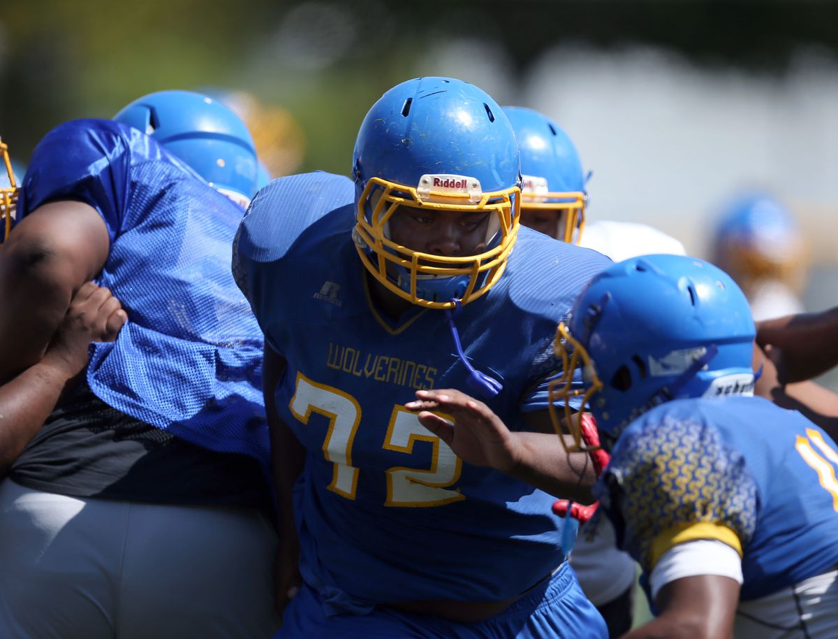 Offensive lineman George Robinson at Simeon's football practice.