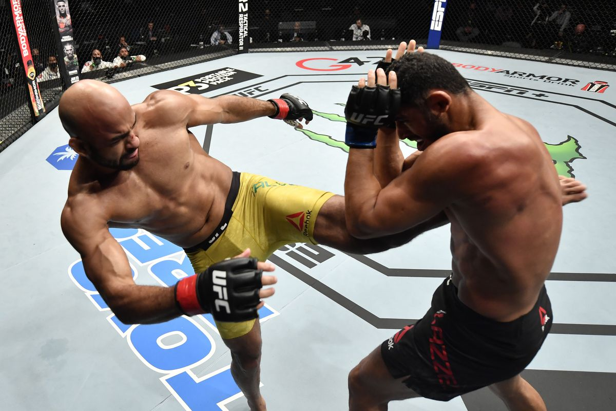 UFC Fight Island 8 video: Warlley Alves calls out Nate Diaz after  demolishing Mounir Lazzez with brutal body kicks - MMA Fighting