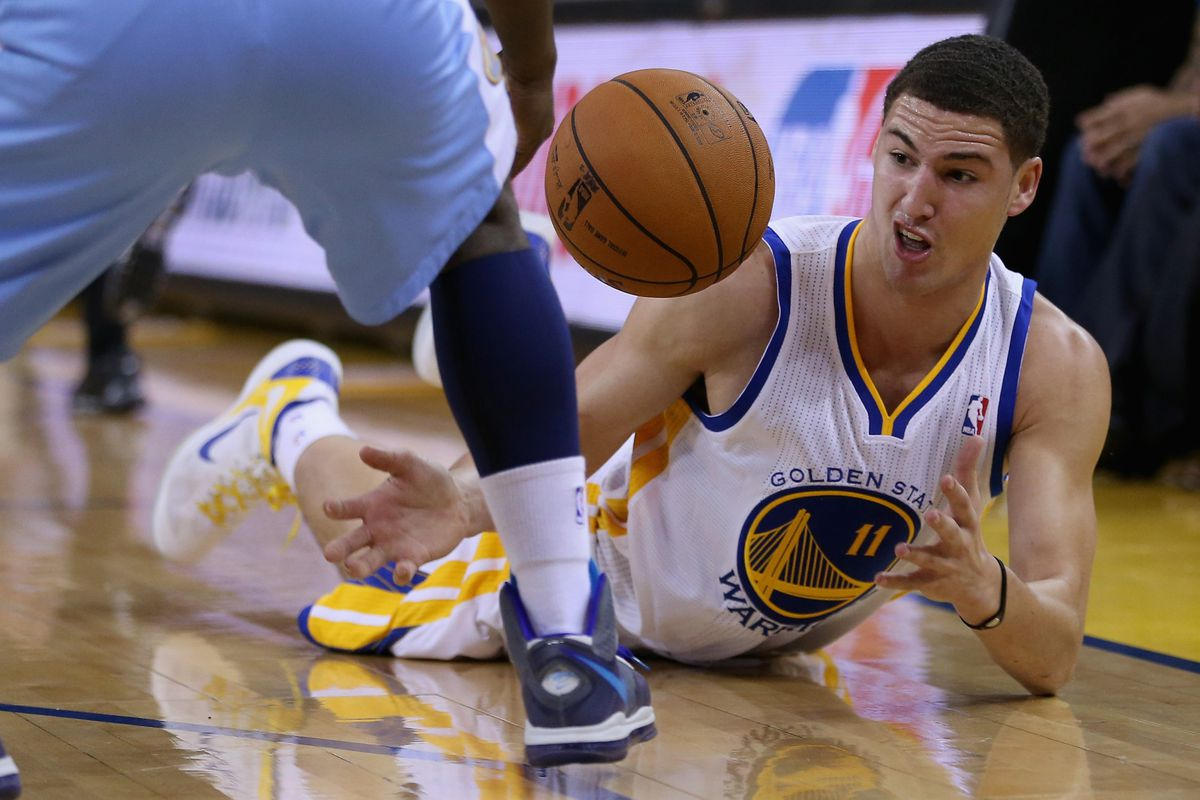Even from the floor, Klay Thompson was hitting shots.