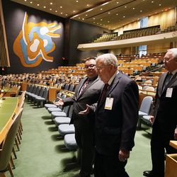President M. Russell Ballard, center front, acting president of the Quorum of the Twelve Apostles, and Elder Jack N. Gerard, General Authority Seventy, right, of The Church of Jesus Christ of Latter-day Saints, talk with Felipe Queipo, communications officer for the UN Department of Global Communications, as they enter the General Assembly Hall of the United Nations in New York City on Friday, Nov. 15, 2019.
