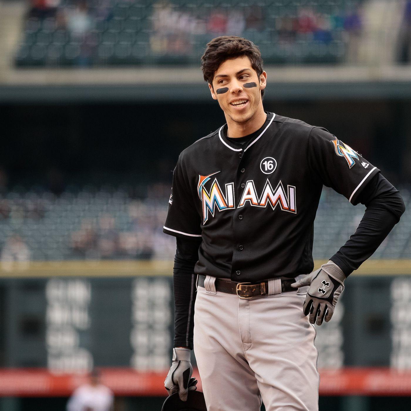 Christian Yelich Miami Marlins Baseball Player Jersey