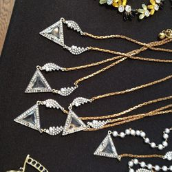 Reign necklaces and pearl reign necklaces with resin and glass stones, $130