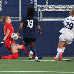 UConn's MaryKate Ward #0 makes a save during the New Hampshire Wildcats vs the UConn Huskies exhibition women's college soccer game at Morrone Stadium at Rizza Performance Center in Storrs, CT, on Saturday August 14, 2021.