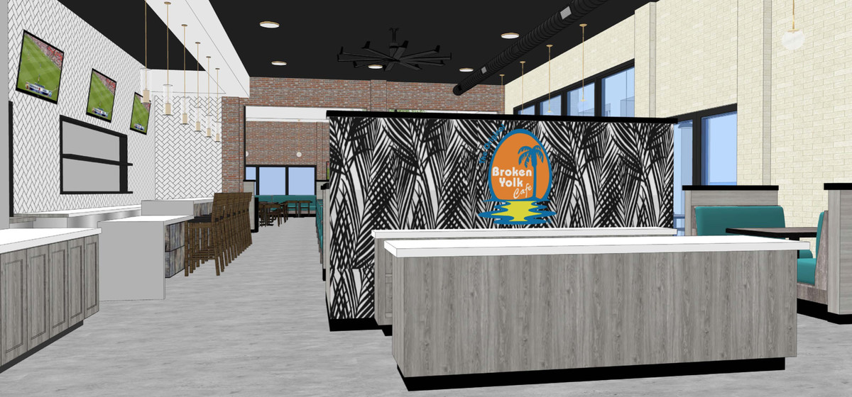 A rendering for an upcoming breakfast restaurant, complete with bar.