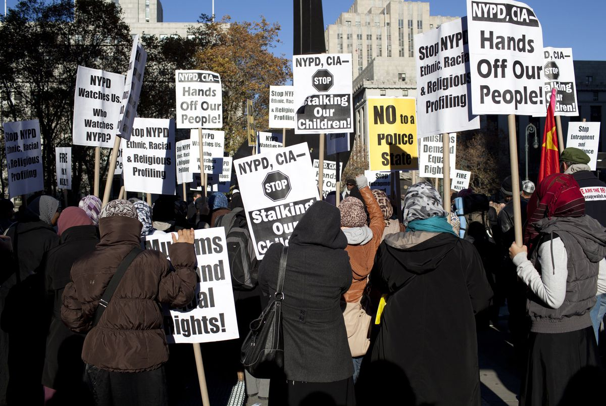 Muslim Americans protesting the NYPD's targeting and surveillance of Muslim communities.