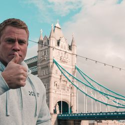 "Author Timothy Ballard gives the thumbs up with London Bridge in the background. Ballard was in London researching for his new book, ""The Pilgrim Hypothesis."""