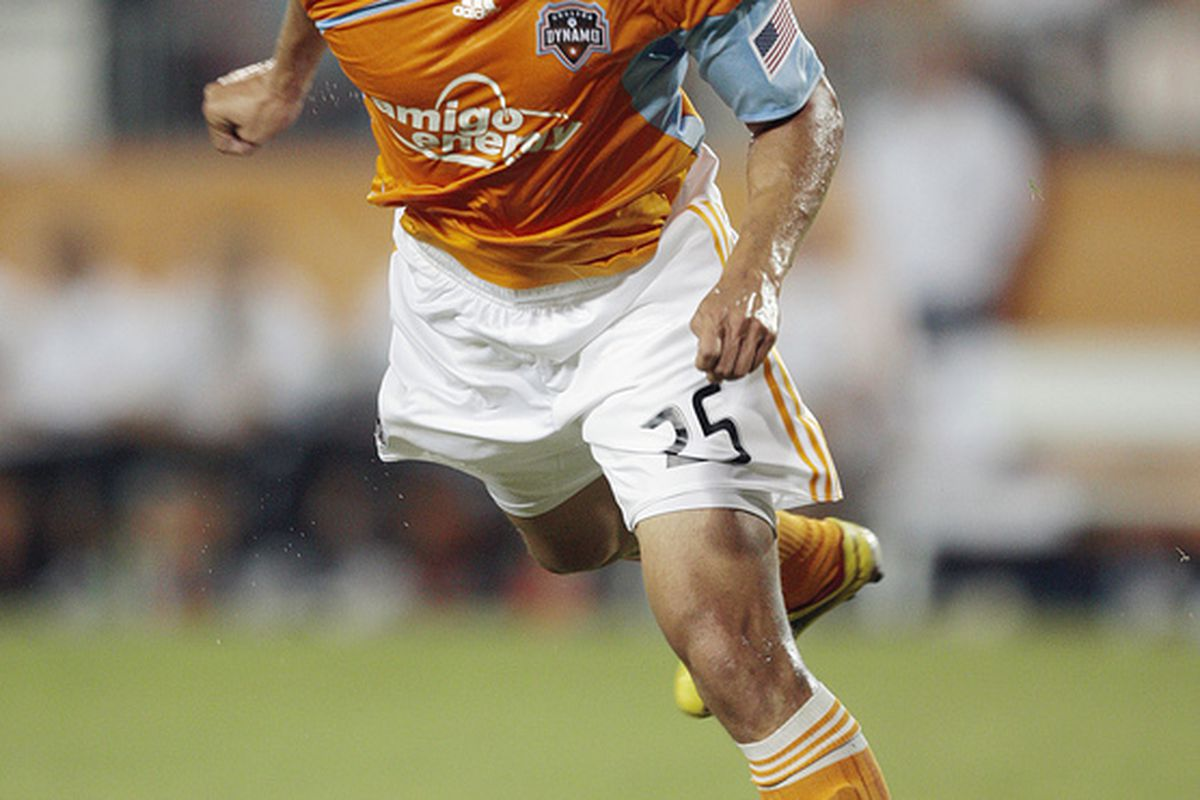HOUSTON - MAY 29:  Forward Brian Ching #25 of the Houston Dynamo puts a header on goal against the Philadelphia Union at Robertson Stadium on May 29, 2010 in Houston, Texas. Philadelphia won 3-2.  (Photo by Bob Levey/Getty Images)