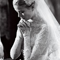 Grace Kelly wore MGM costume designer Helen Rose to marry Prince Rainier III of Monaco in 1956.