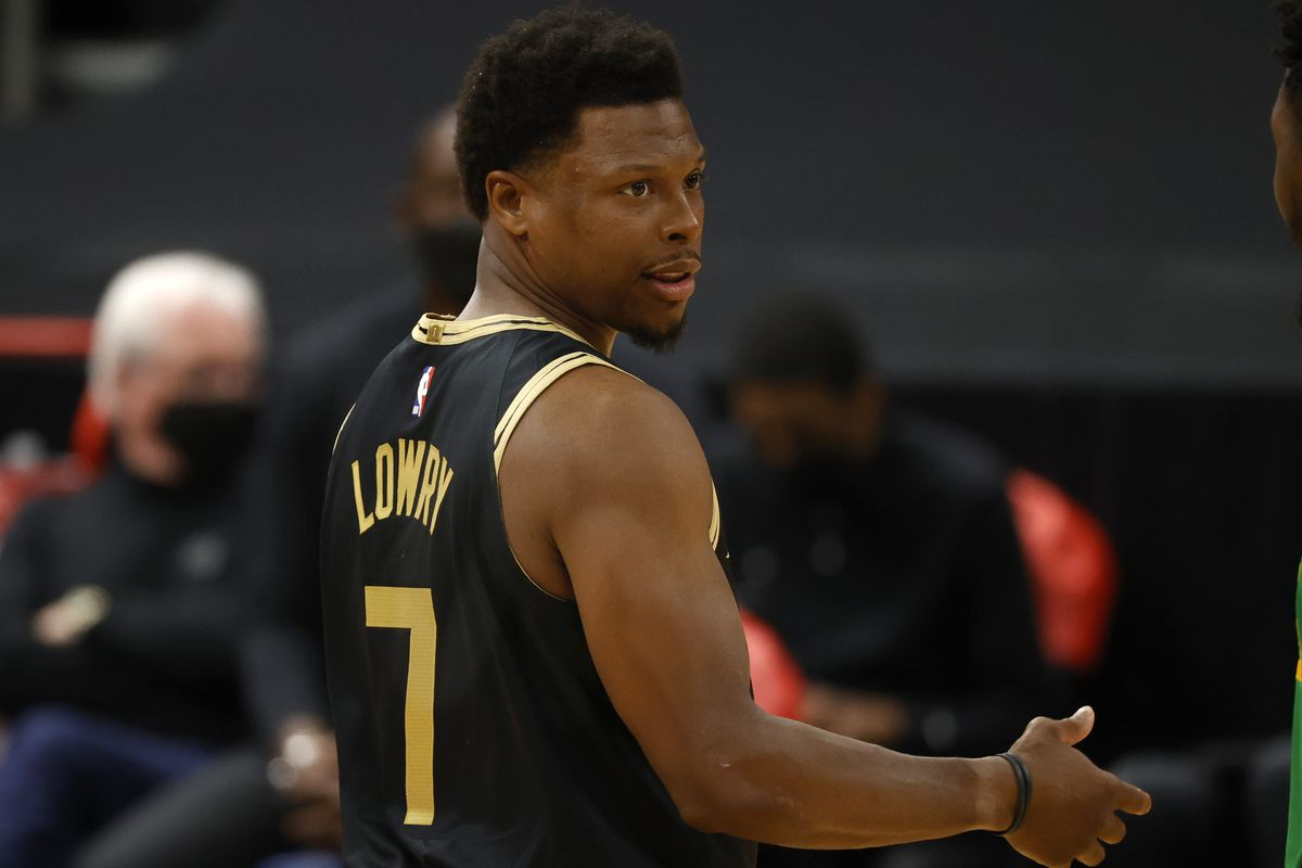 Toronto Raptors guard Kyle Lowry against the Utah Jazz during the first quarter at Amalie Arena.