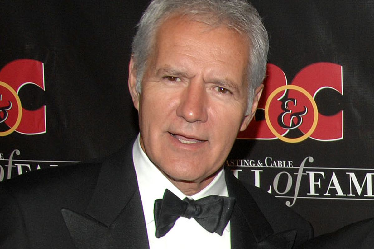 """20071022 FILE - this Oct. 22, 2007 file photo shows game show host Alex Trebek at the 17th annual Broacasting and Cable Hall of Fame awards dinner in New York. Thirty six years ago, on Sept. 10, 1984, Trebek hosted his first """"Jeopardy!"""" game."""