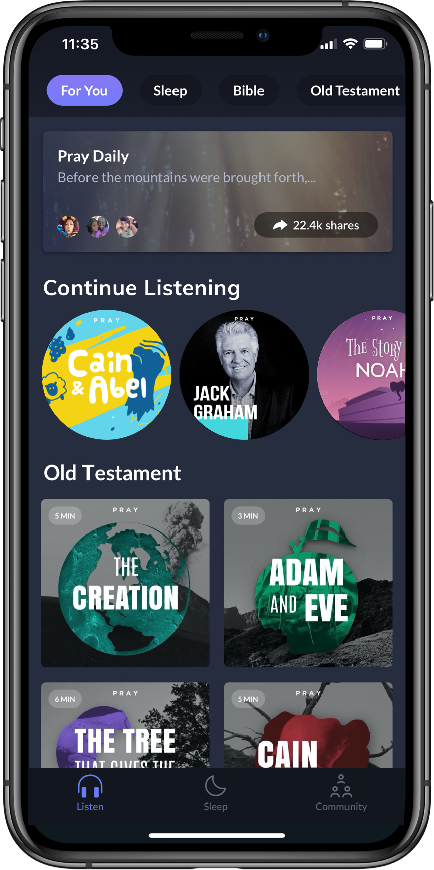 """A cellphone screen showing the Pray.com app with circles to click on for shows to listen to, including """"Cain & Abel"""" and """"The Creation."""""""