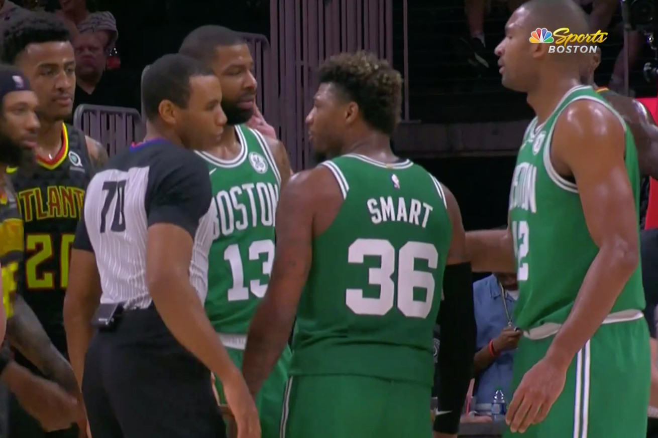 Screen Shot 2019 01 19 at 6.01.23 PM.0 - Marcus Smart tried to fight Marcus Smart style after he was ejected vs. Hawks