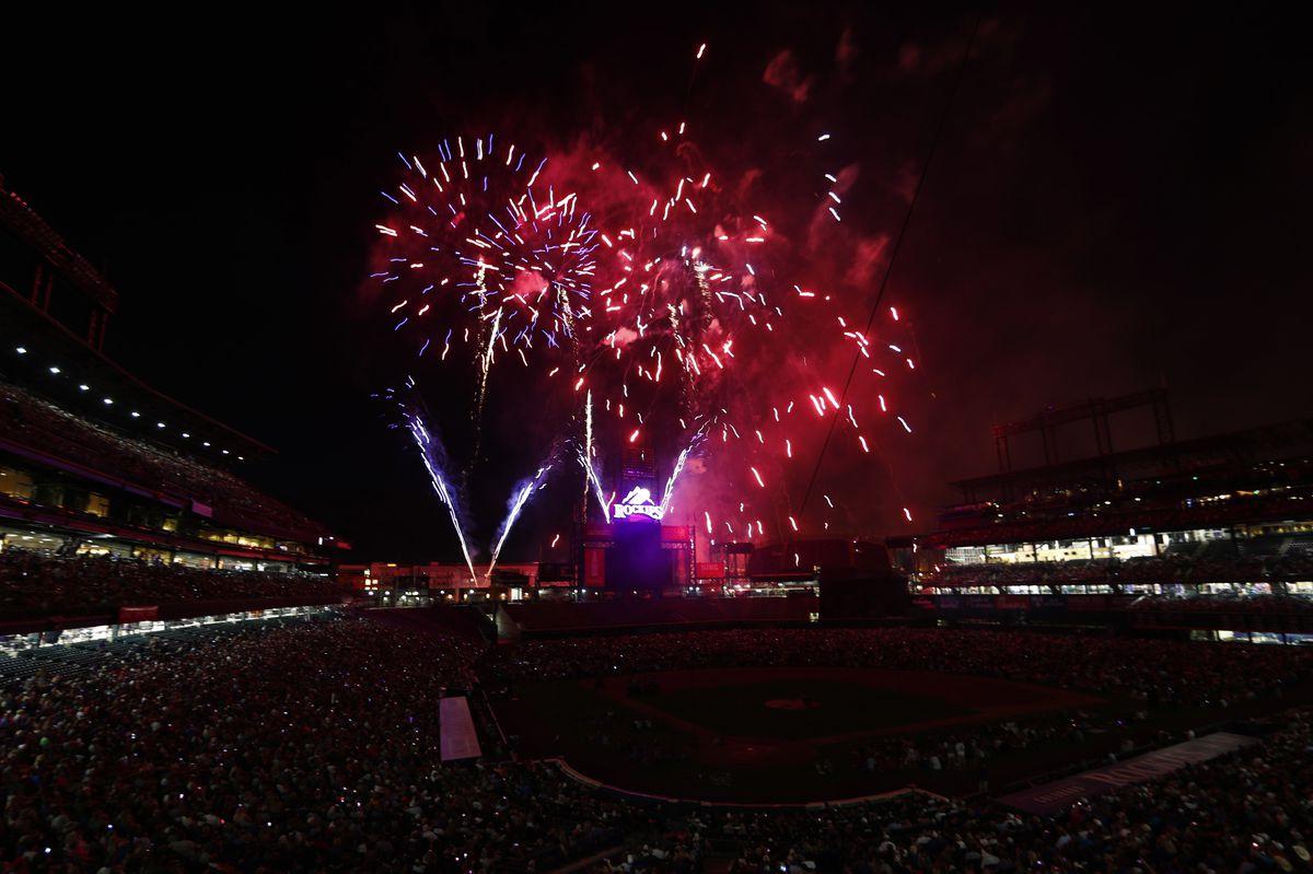 Fireworks explode over Coors Field Monday after the Colorado Rockies defeated the Cincinnati Reds 5-3.   David Zalubowski/Associated Press