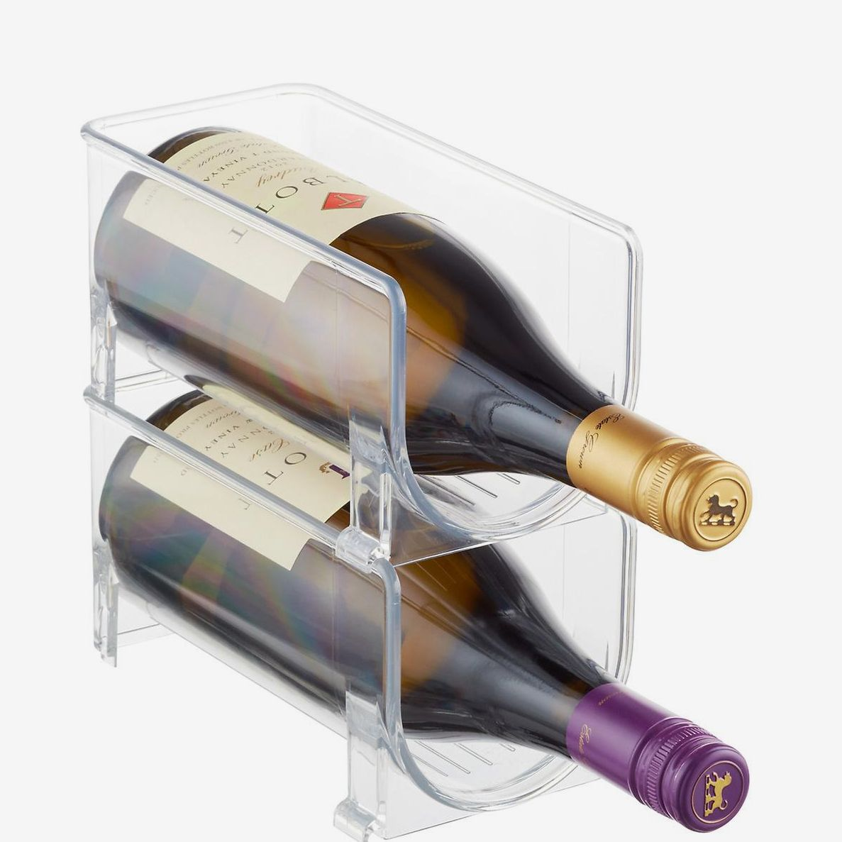 Two stacked clear storage bins containing two bottles of wine