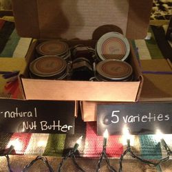 """Handmade in West Philly, <a href=""""http://pbandjamsphl.com/"""">PB & Jams</a>'s nut butters are all-natural and come in five varieties. This particular gift set ($25) has four of the varieties, along with two jam flavors."""