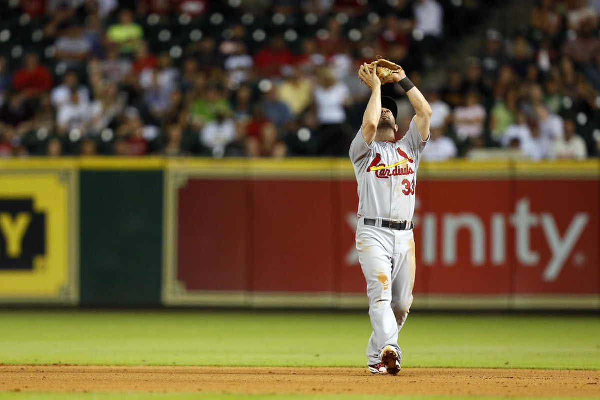 June 6, 2012; Houston, TX, USA; St. Louis Cardinals second baseman Daniel Descalso (33) fields a fly ball against the Houston Astros during the sixth inning at Minute Maid Park. Mandatory Credit: Thomas Campbell-US PRESSWIRE