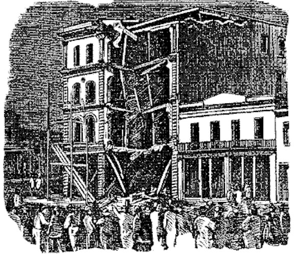 A black and white ink illustration of crowds in the street and damaged buildings.