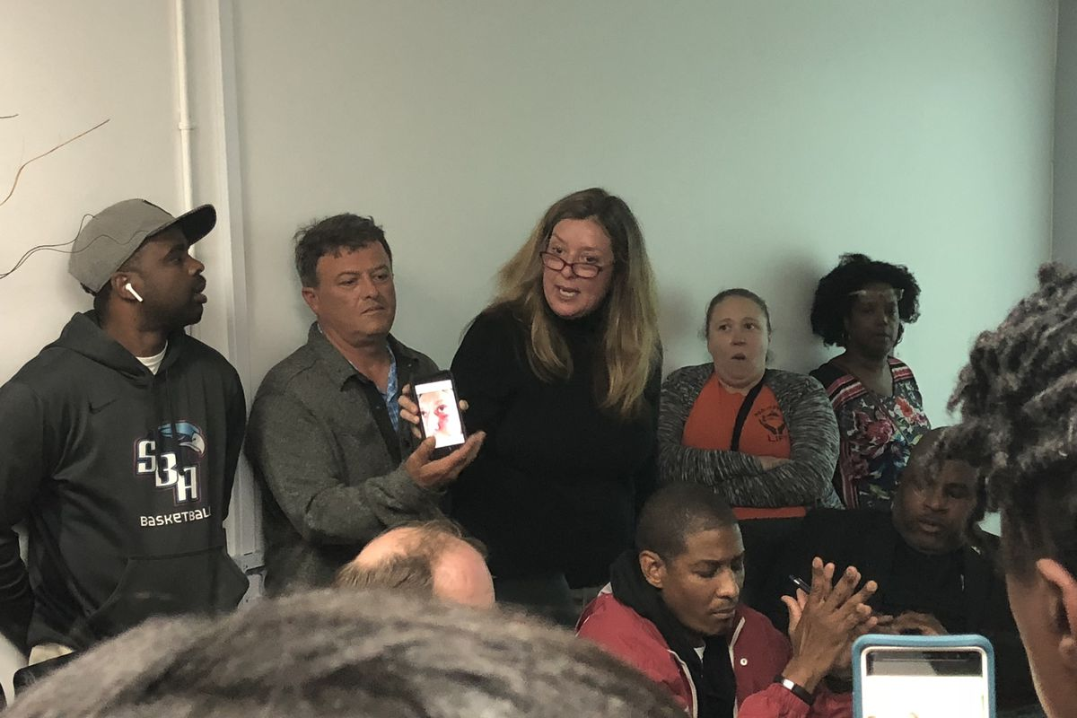 ACT prep teacher Patricia Ange spoke at a board meeting for Memphis Academy of Health Sciences after principal Reginald Williams was fired.