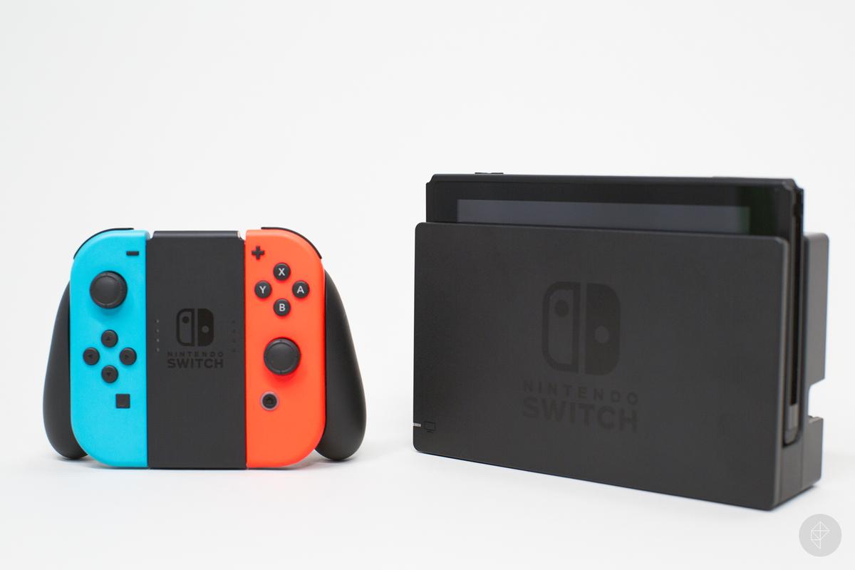 Nintendo Switch - Joy-Cons in Grip next to dock