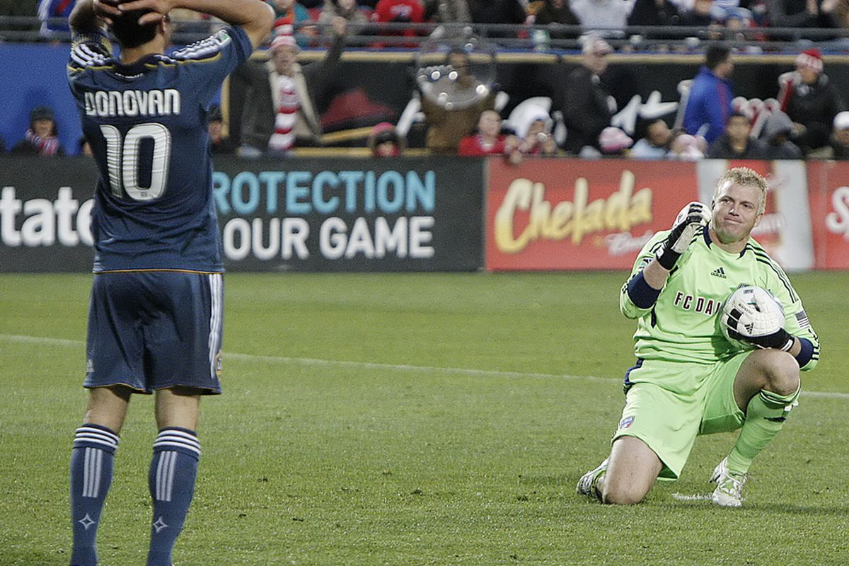FRISCO, TX - MAY 1: Goal keeper Kevin Hartman #1 of FC Dallas motions towards Landon Donovan #10 of the Los Angeles Galaxy after blocking a Donovan's shot on goal in Frisco, Texas. (Photo by Brandon Wade/Getty Images)