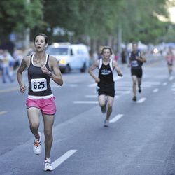 Jamie Pilkington runs the Deseret News 10K race that started in Research Park and ended in Liberty Park in Salt Lake City Saturday.