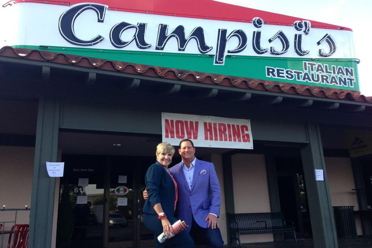David Campisi and Fort Worth mayor Betsy Price at the new location.