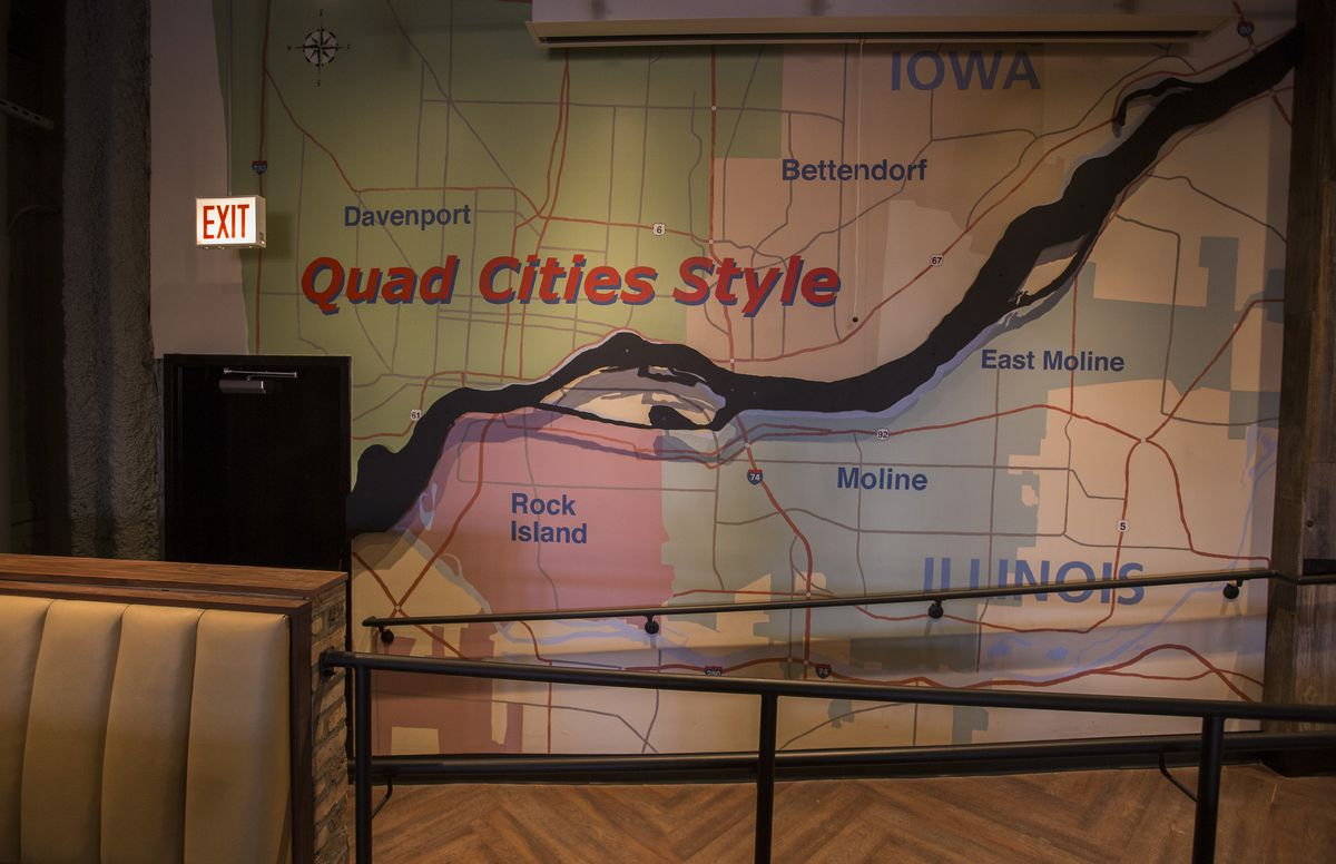 A map of the Quad Cities with pastels.